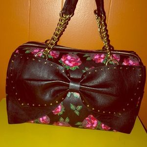 Betsey Johnson Studded Rose Bow Satchel Bag